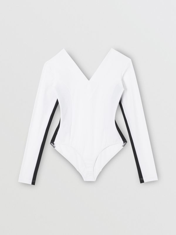 Two-tone Stretch Jersey Bodysuit in Optic White - Women | Burberry - cell image 3