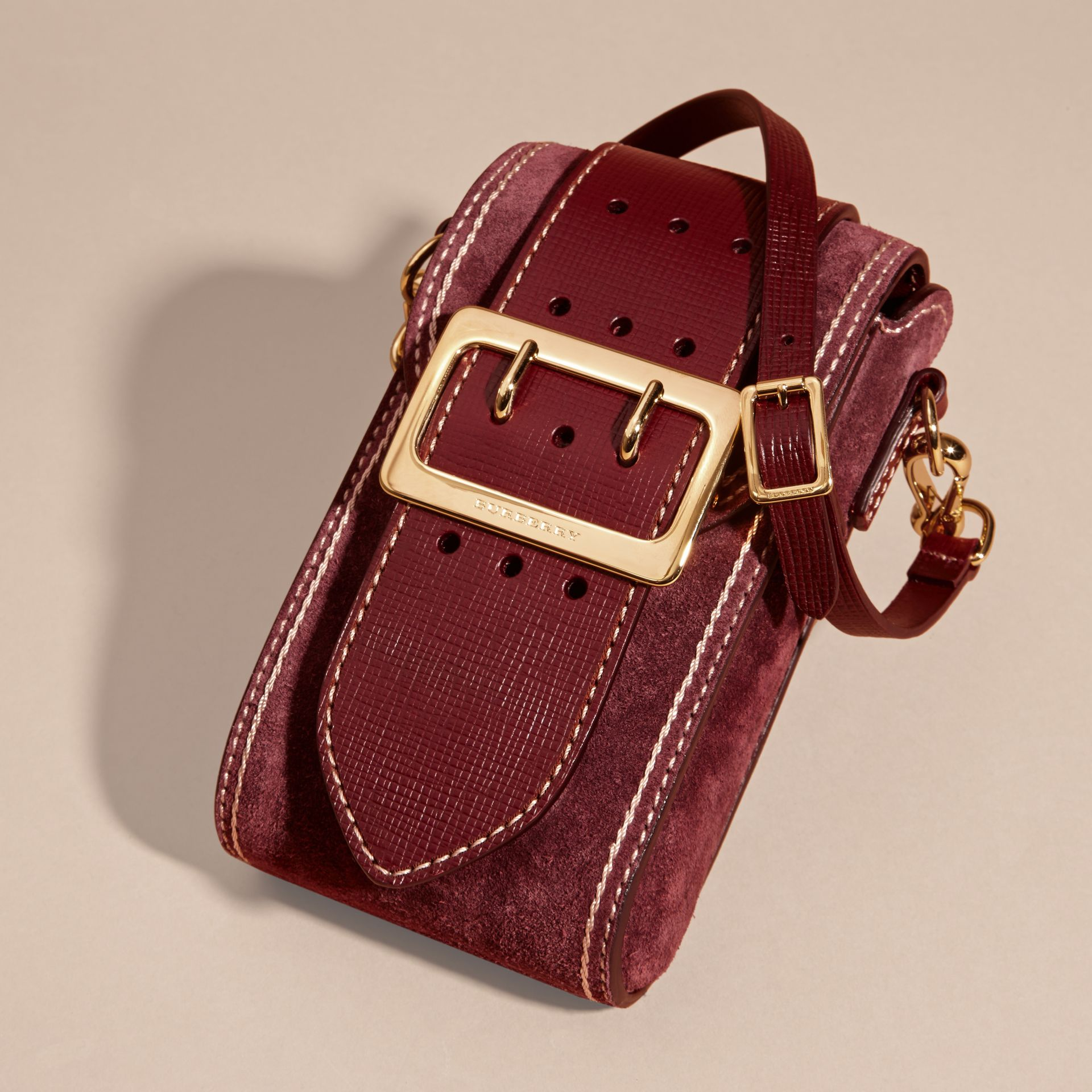 Mahogany red The Buckle Bag – Oblong in Suede - gallery image 7