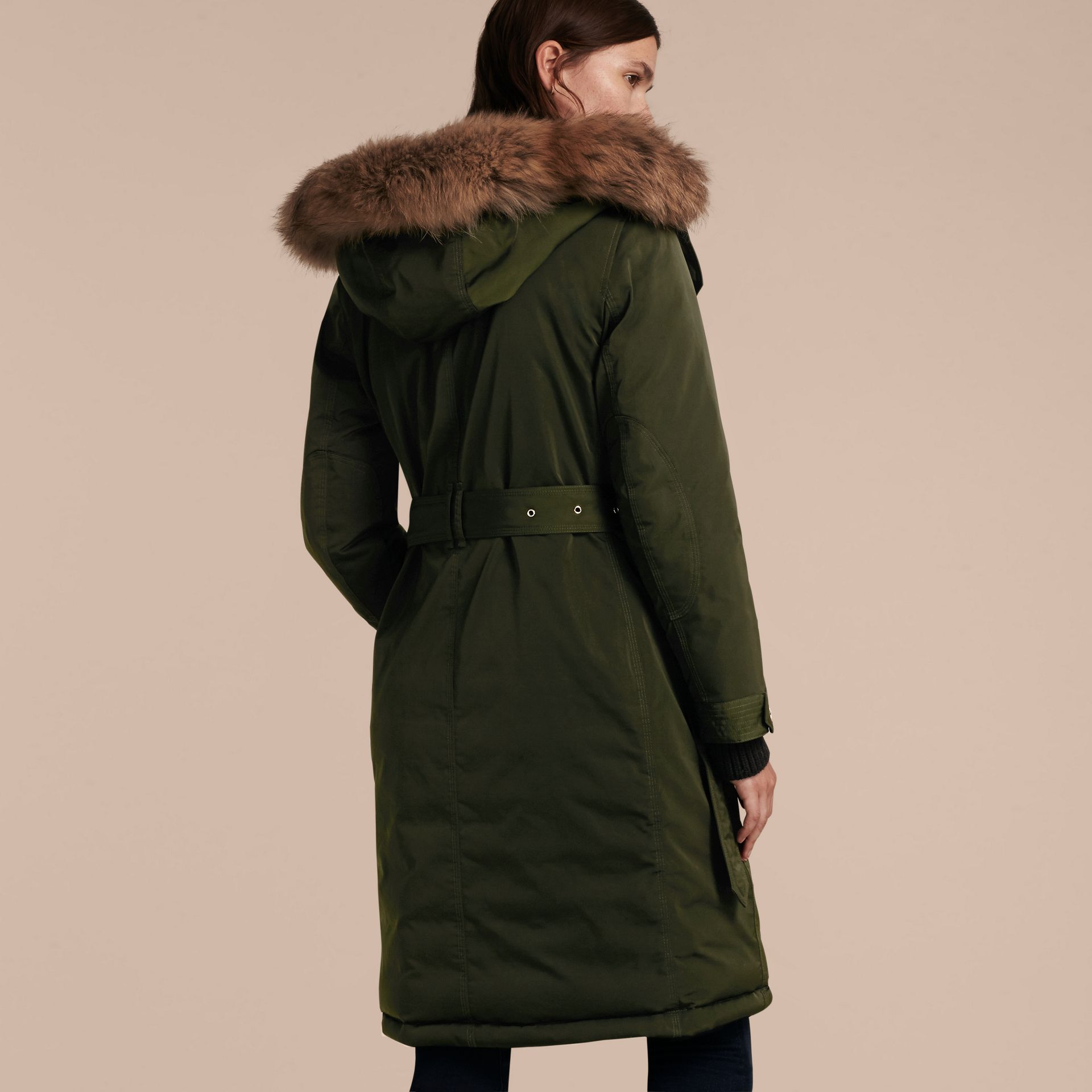 Dark cedar green Down-filled Parka Coat with Detachable Fur Trim Dark Cedar Green - gallery image 3