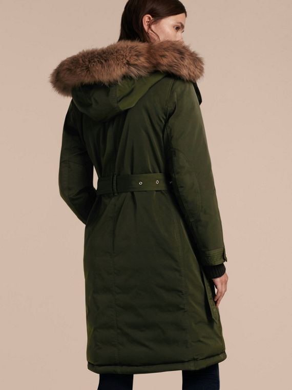 Dark cedar green Down-filled Parka Coat with Detachable Fur Trim Dark Cedar Green - cell image 2