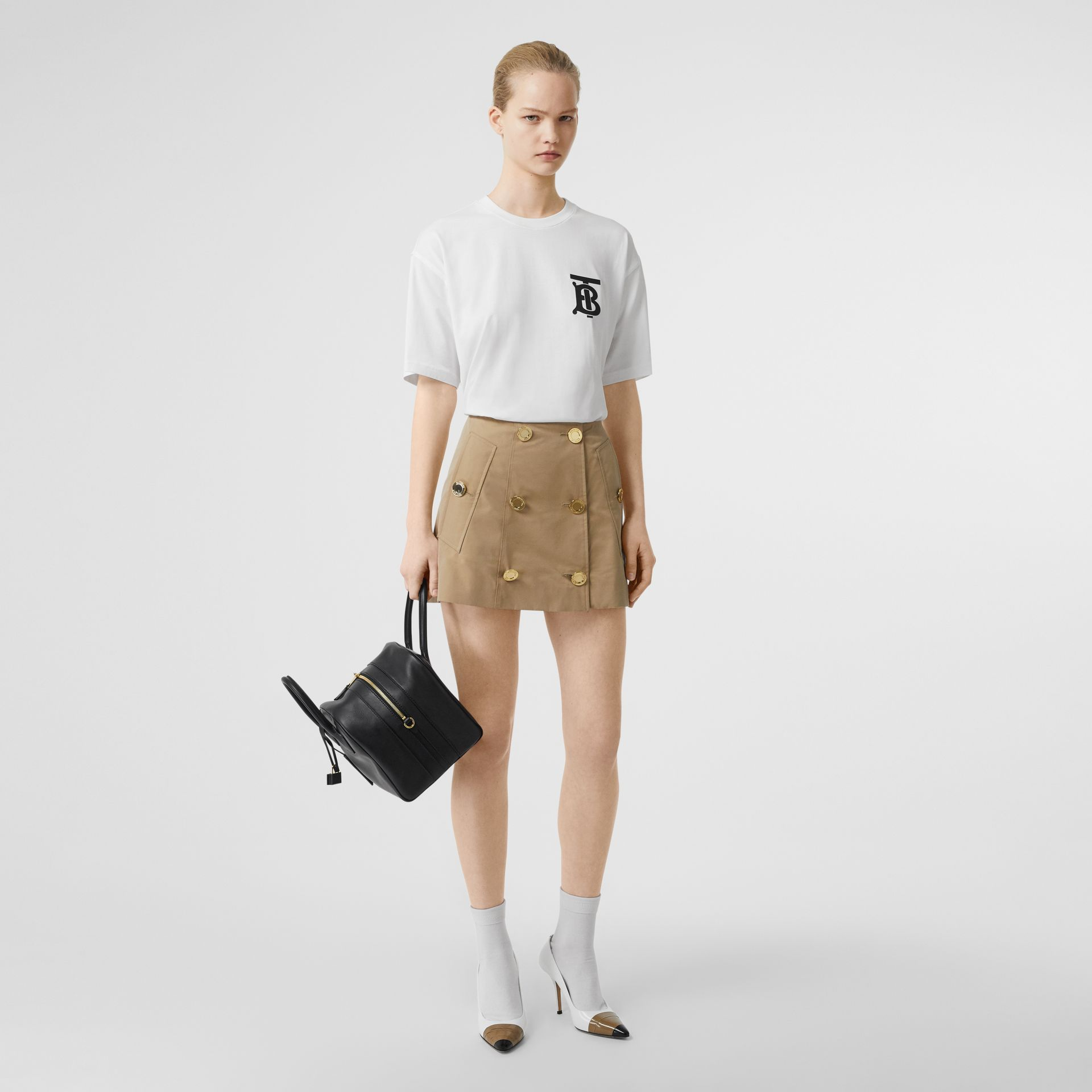 Monogram Motif Cotton Oversized T-shirt in White - Women | Burberry United Kingdom - gallery image 0