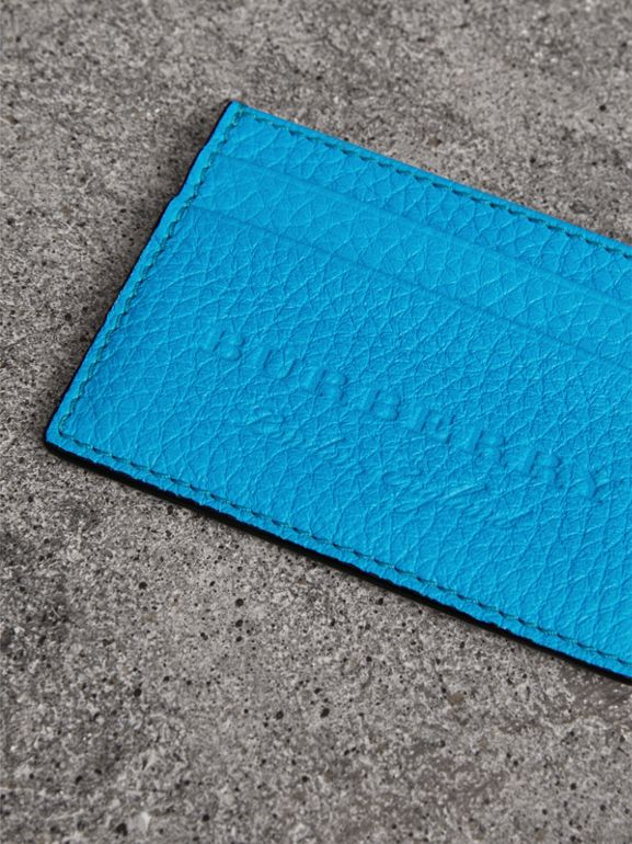 Embossed Textured Leather Card Case in Neon Blue | Burberry - cell image 1