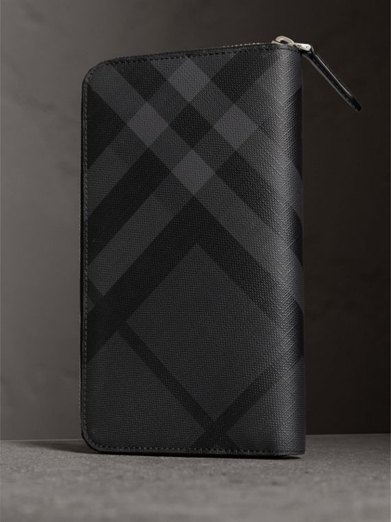 Cartera en London Checks con cremallera perimetral (Gris Marengo / Negro) - Hombre | Burberry - cell image 2