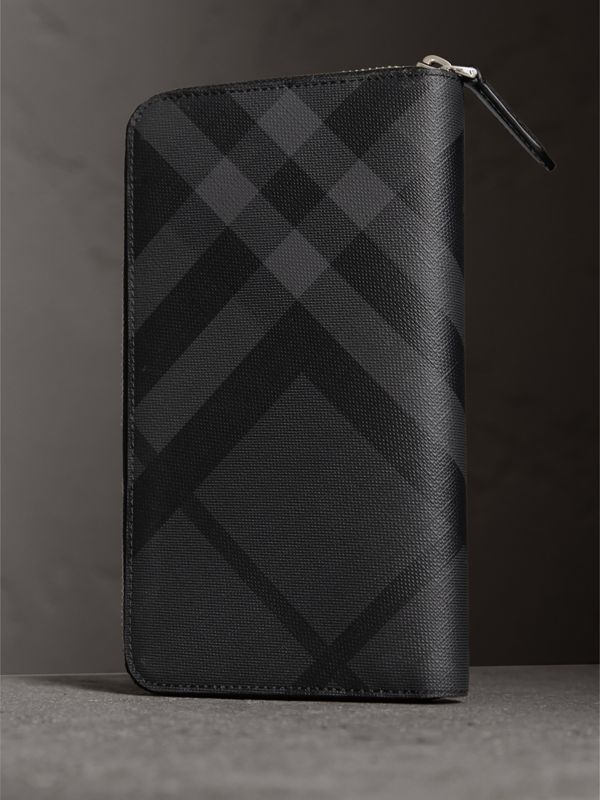 London Check Ziparound Wallet in Charcoal/black - Men | Burberry - cell image 2
