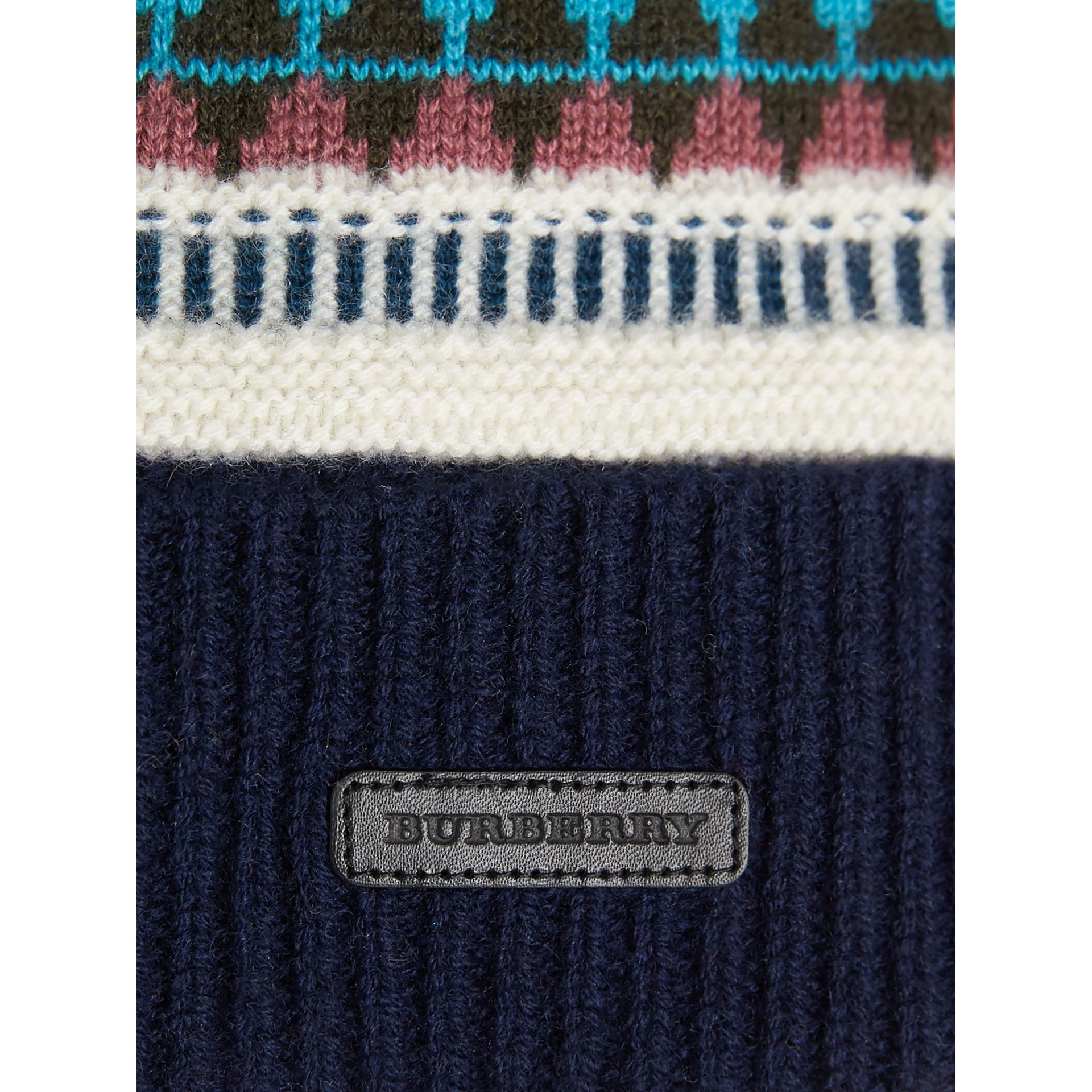 Fair Isle Wool Cashmere Pom-pom Beanie in Navy | Burberry - gallery image 1