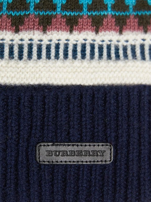 Fair Isle Wool Cashmere Pom-pom Beanie in Navy | Burberry United Kingdom - cell image 1