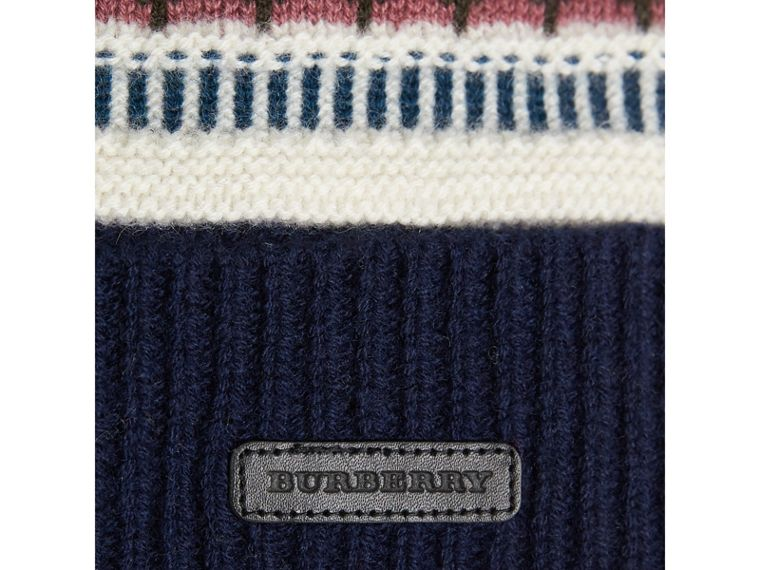 Fair Isle Wool Cashmere Pom-pom Beanie in Navy | Burberry - cell image 1