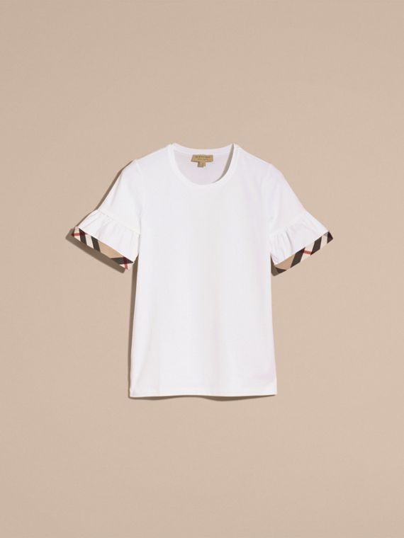 White Stretch Cotton T-shirt with Check Trim Ruffles White - cell image 3