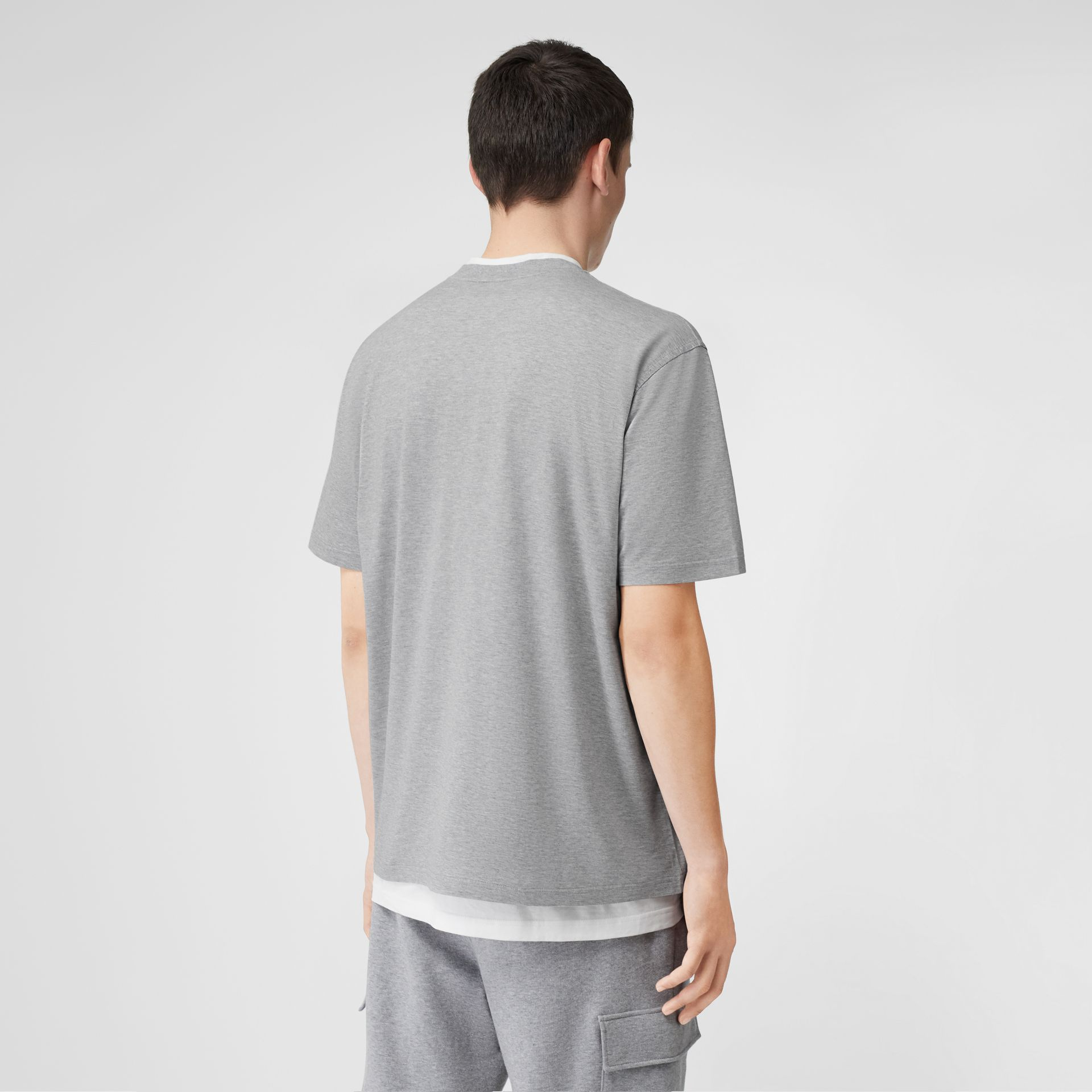 Monogram Motif Cotton Oversized T-shirt in Pale Grey Melange - Men | Burberry United Kingdom - gallery image 2