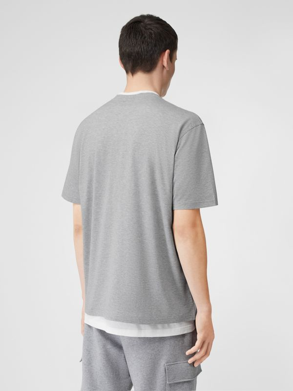 Monogram Motif Cotton Oversized T-shirt in Pale Grey Melange - Men | Burberry - cell image 2