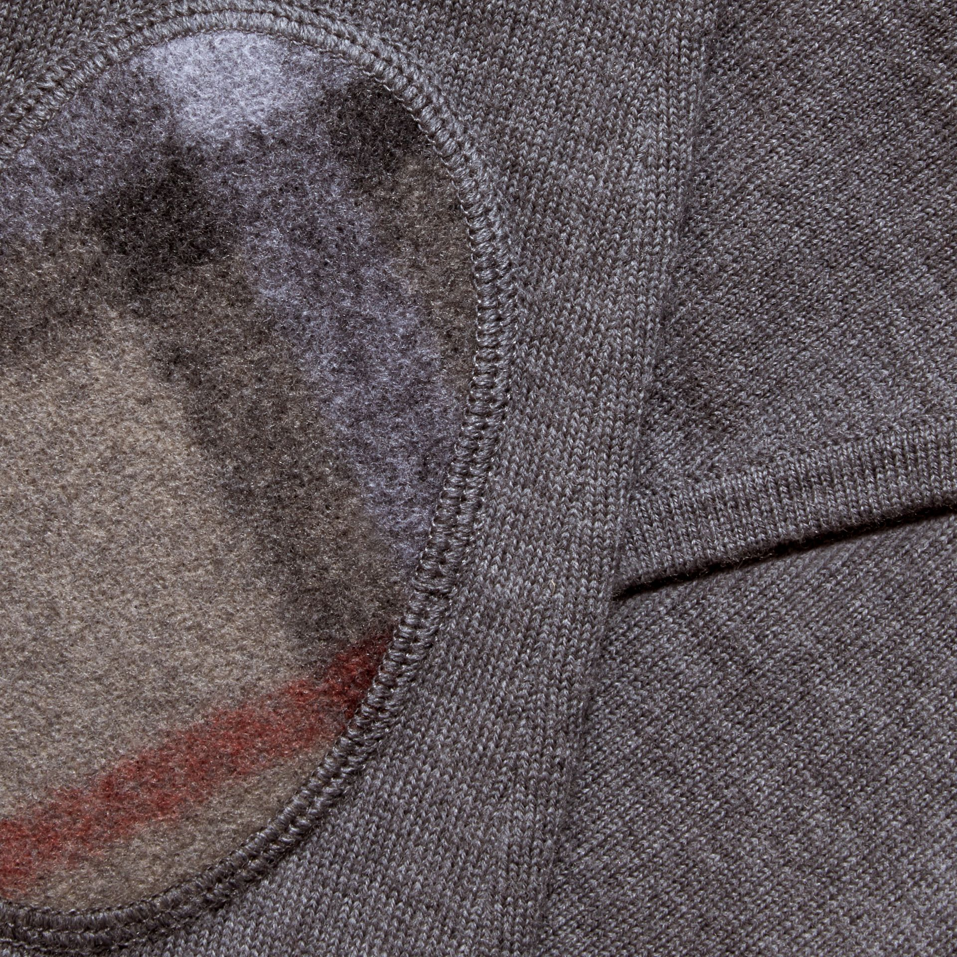 Mid grey melange Check Trim Merino Wool Hooded Top - gallery image 2
