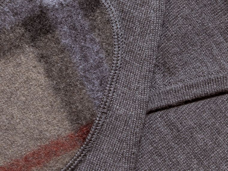 Mid grey melange Check Trim Merino Wool Hooded Top Mid Grey Melange - cell image 1
