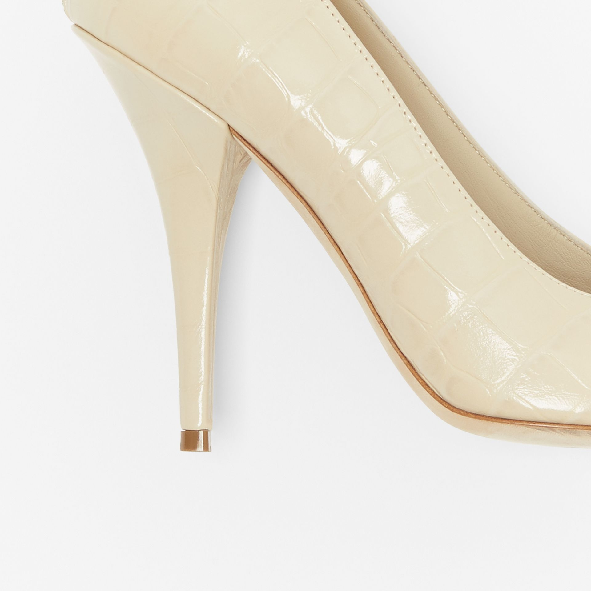 Triple Stud Embossed Leather Point-toe Pumps in Teddy Beige - Women | Burberry - gallery image 1