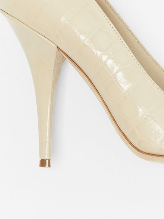 Triple Stud Embossed Leather Point-toe Pumps in Teddy Beige - Women | Burberry - cell image 1