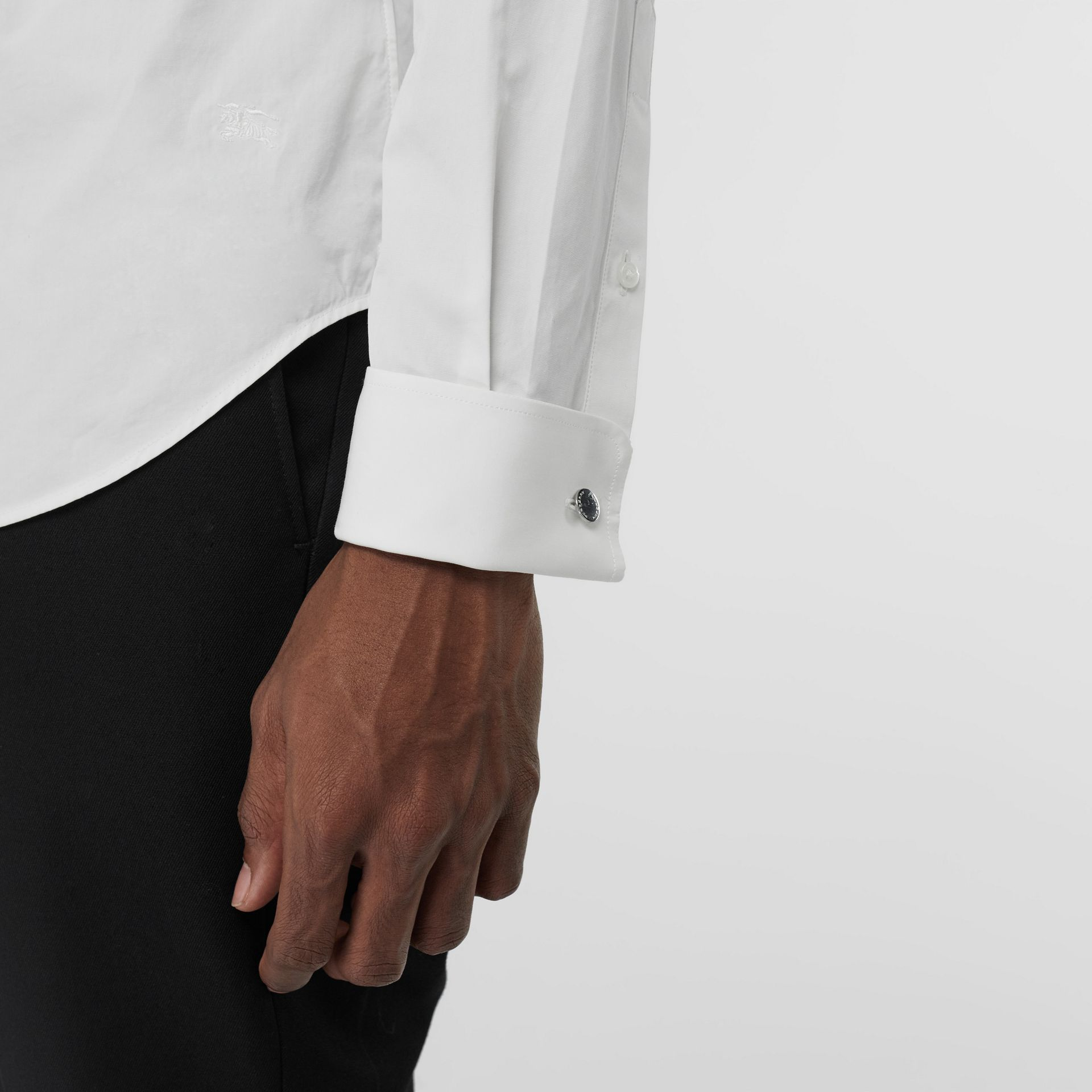 Slim Fit Double Cuff Cotton Poplin Shirt in White - Men | Burberry United Kingdom - gallery image 1