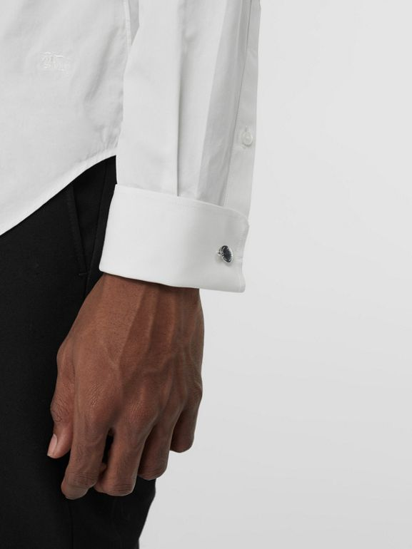 Slim Fit Double Cuff Cotton Poplin Shirt in White - Men | Burberry United Kingdom - cell image 1