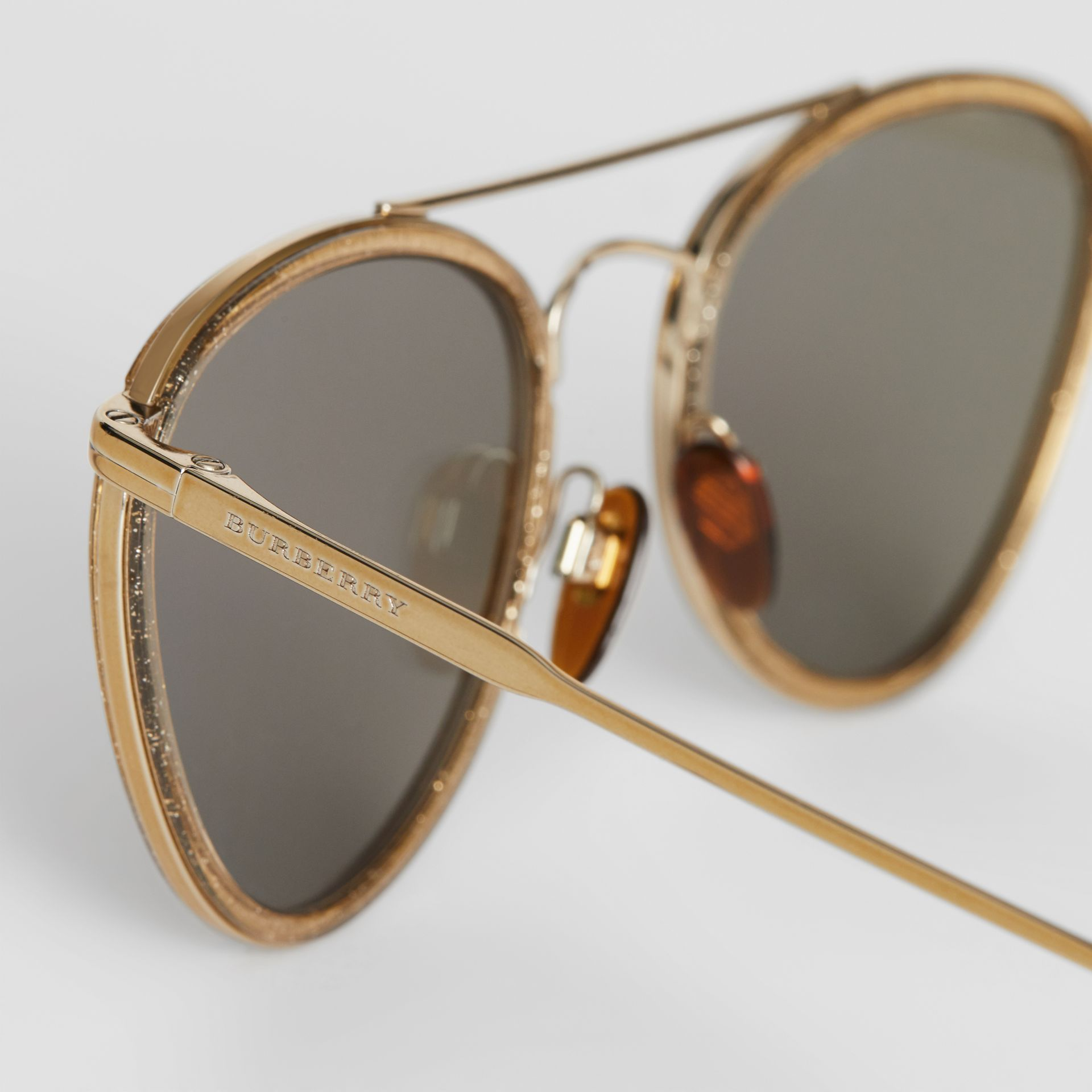 Glitter Detail Pilot Sunglasses in Gold - Women | Burberry - gallery image 1