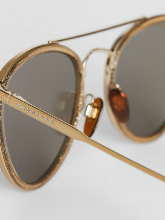 Glitter Detail Pilot Sunglasses in Gold - Women | Burberry - cell image 1