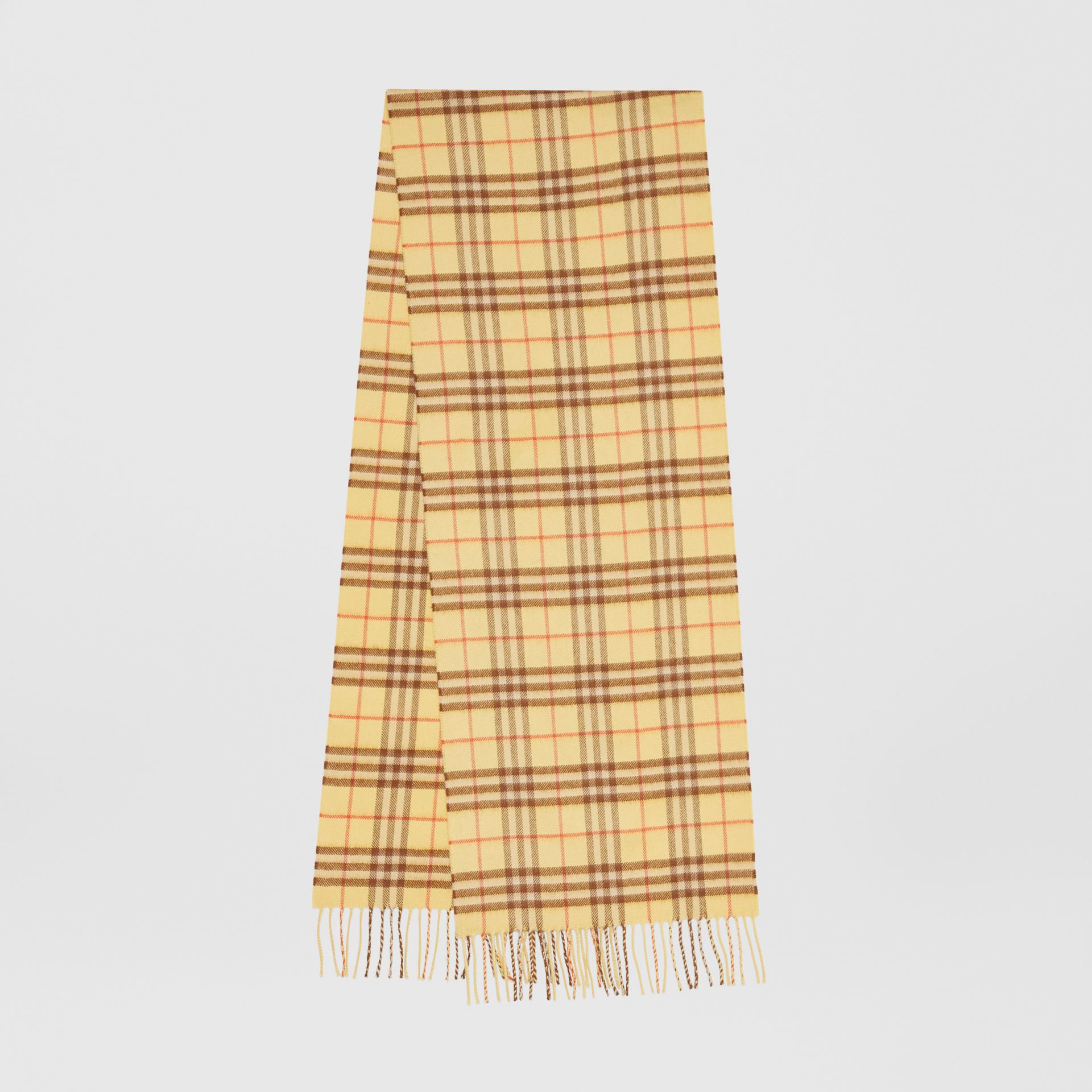The Classic Vintage Check Cashmere Scarf in Pale Primrose | Burberry - gallery image 0