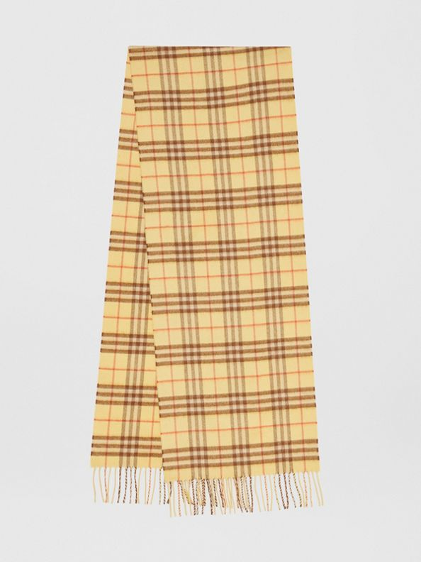 The Classic Vintage Check Cashmere Scarf in Pale Primrose