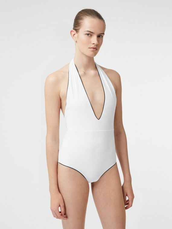 Piping Detail Halterneck Swimsuit in Off White