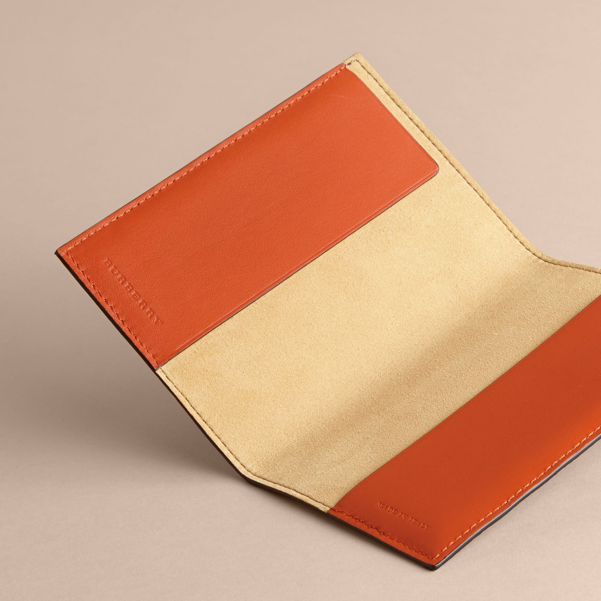 Peony Rose Print Leather Passport Cover in Pale Blue/vibrant Orange | Burberry - gallery image 4