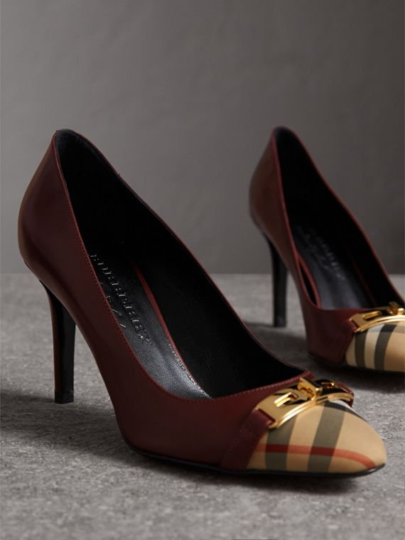 Horseferry Check Leather Pumps in Oxblood - Women | Burberry Singapore - cell image 3