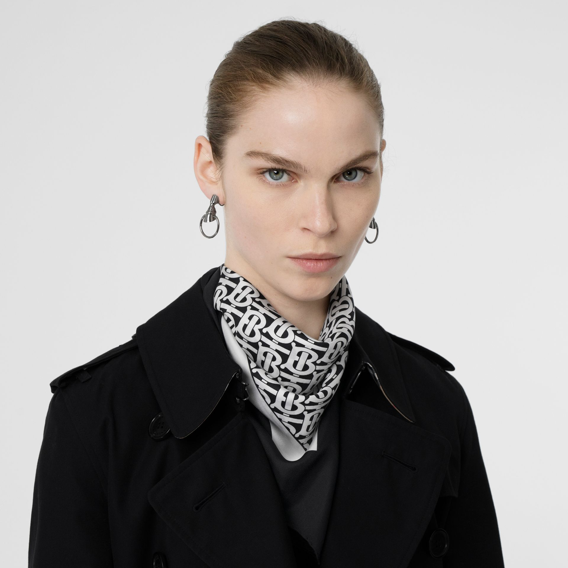 Monogram Print Silk Square Scarf in Monochrome - Women | Burberry United States - gallery image 2