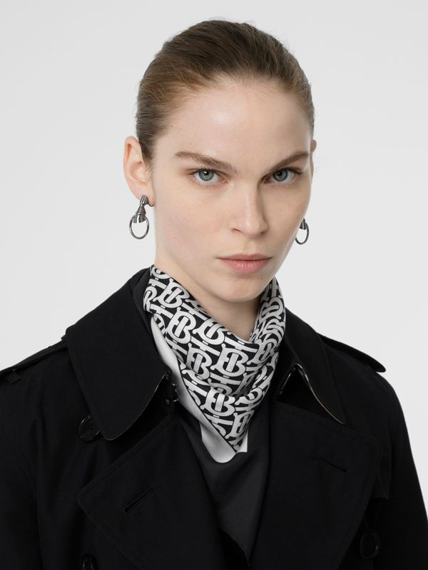 Monogram Print Silk Square Scarf in Monochrome - Women | Burberry United Kingdom - cell image 2