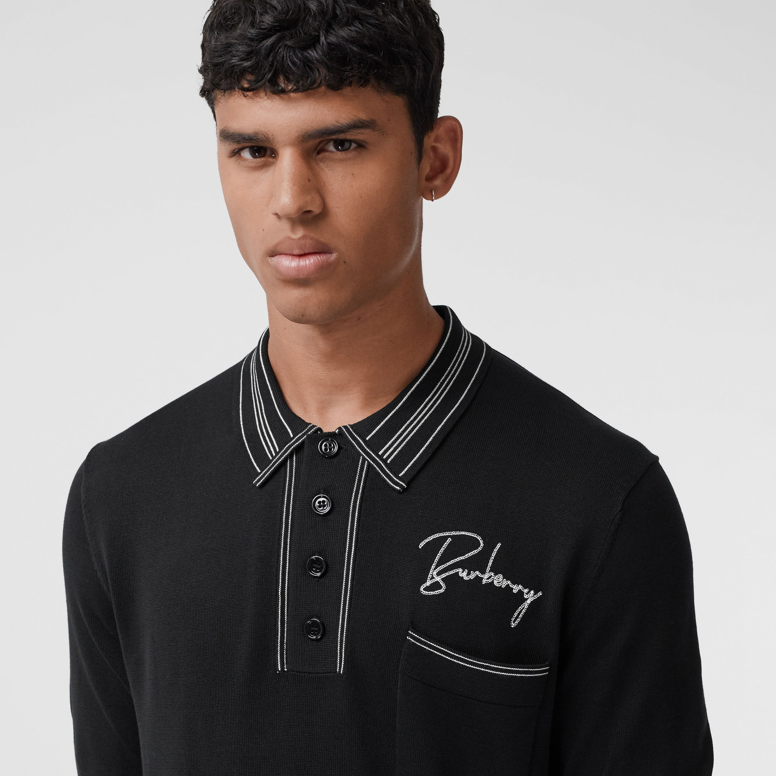 Embroidered Logo Knit Silk Polo Shirt - Men | Burberry - 2