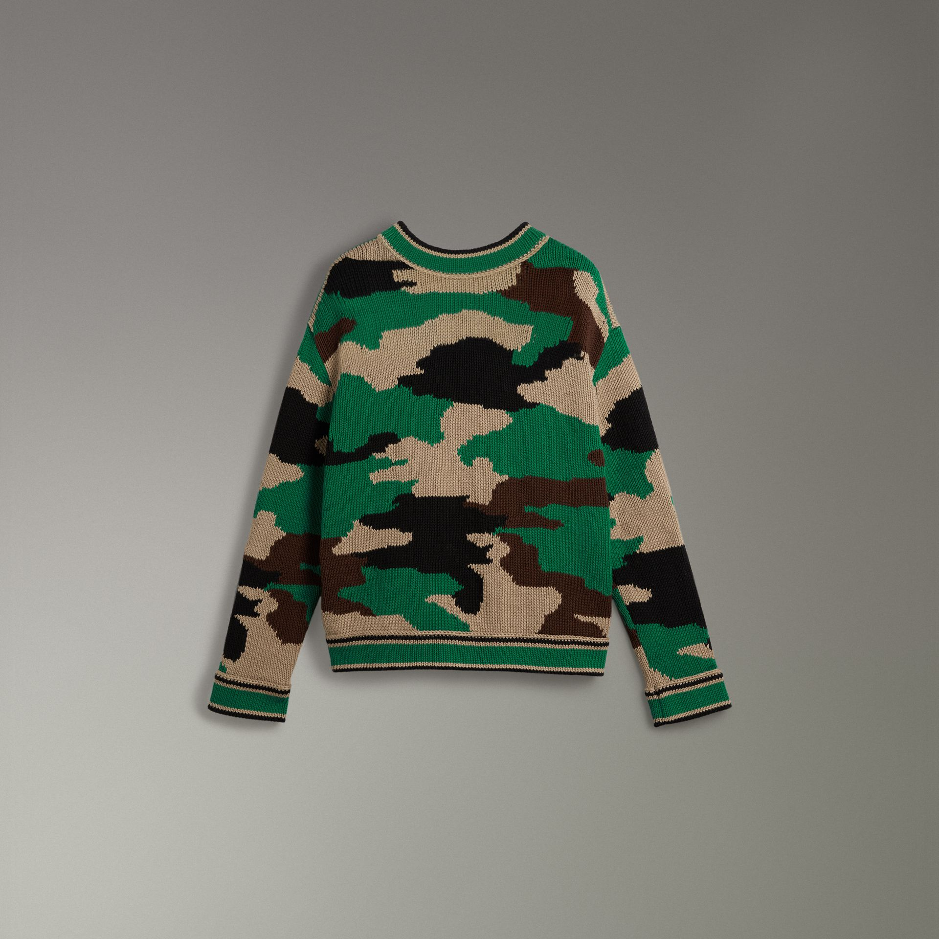 Camouflage Intarsia Cotton V-neck Sweater in Military Khaki - Women | Burberry - gallery image 3