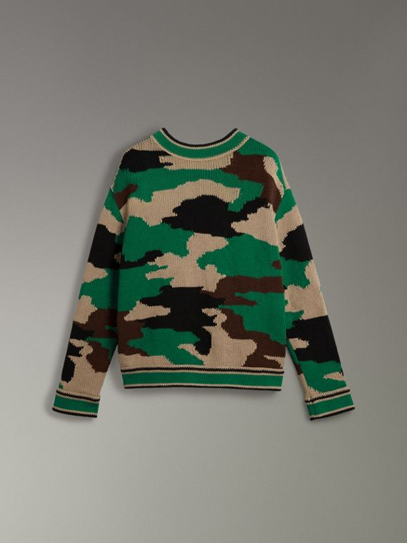 Camouflage Intarsia Cotton V-neck Sweater in Military Khaki - Women | Burberry Australia - cell image 3