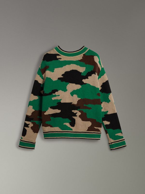 Camouflage Intarsia Cotton V-neck Sweater in Military Khaki - Women | Burberry - cell image 3