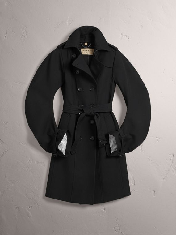 Wool Sculptural Trench Coat in Black - Women | Burberry - cell image 3