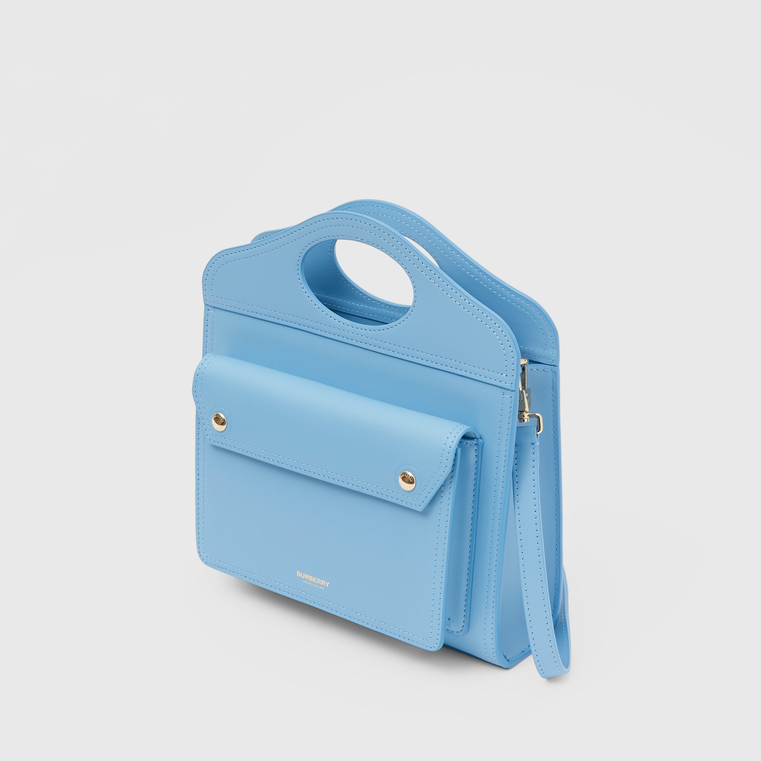 Mini Leather Pocket Bag in Blue Topaz - Women | Burberry Singapore - 4