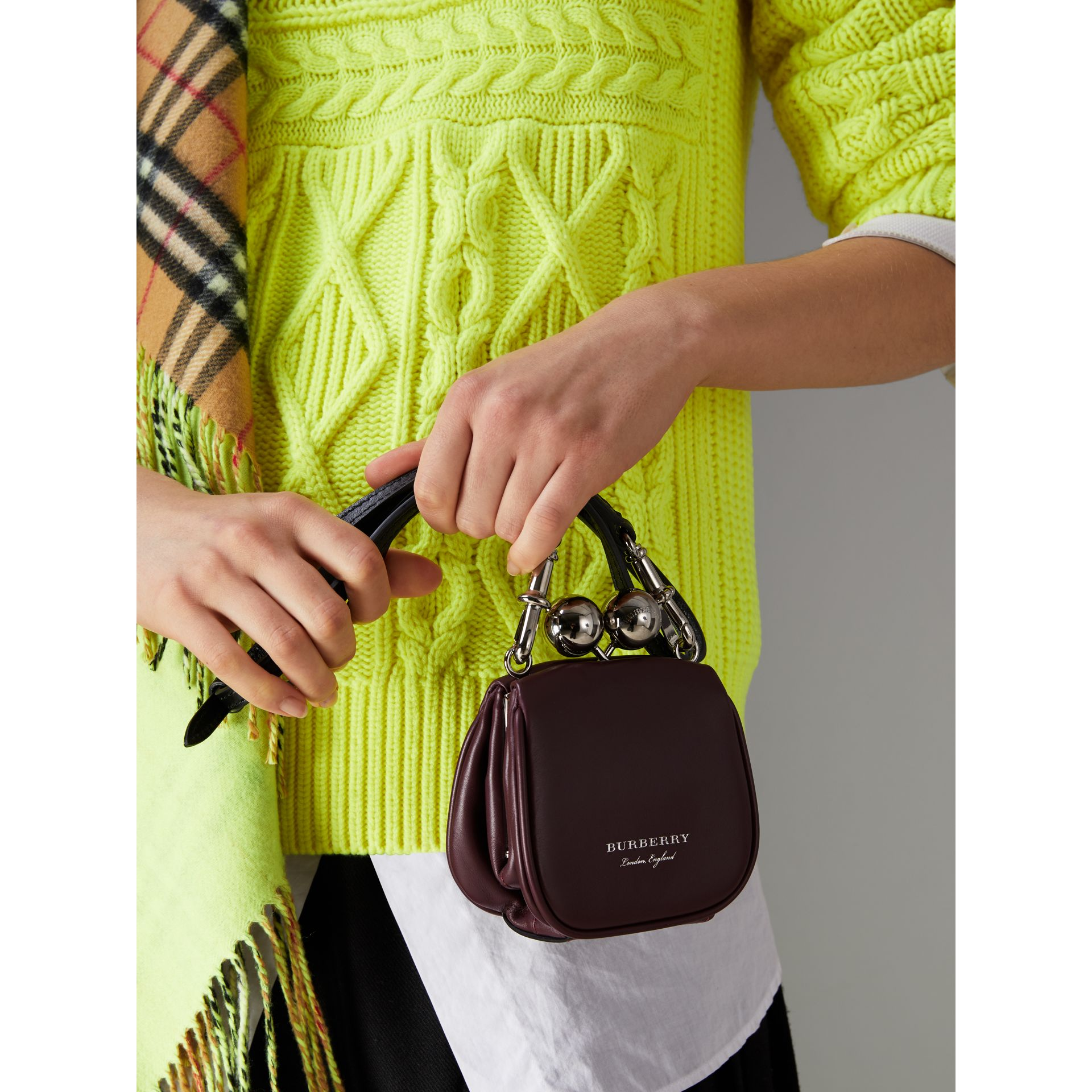 Mini Two-tone Leather Frame Bag in Burgundy - Women | Burberry - gallery image 3