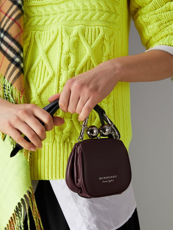 Mini Two-tone Leather Frame Bag in Burgundy - Women | Burberry - cell image 3