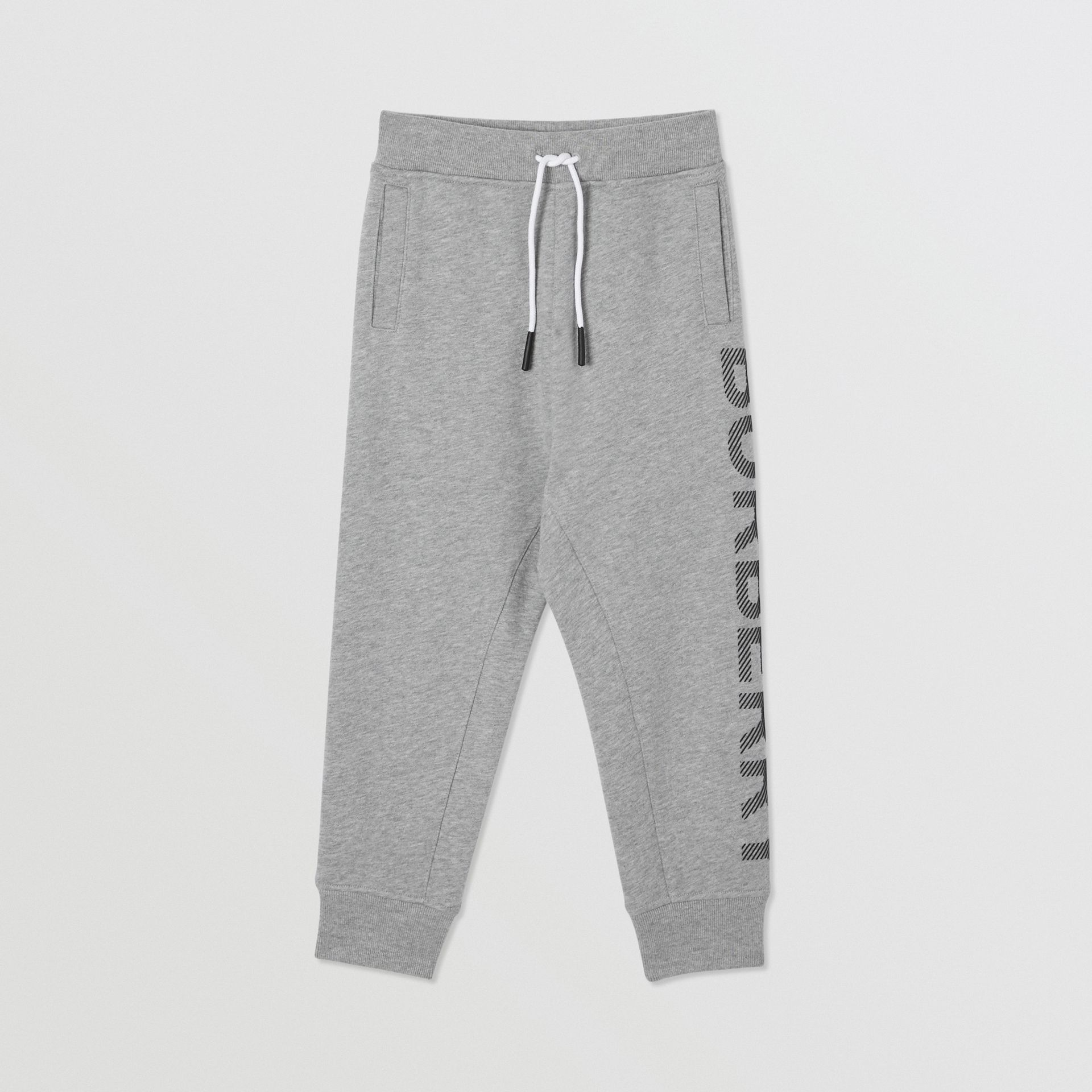 Logo Print Cotton Drawcord Trackpants in Grey Melange | Burberry United Kingdom - gallery image 0