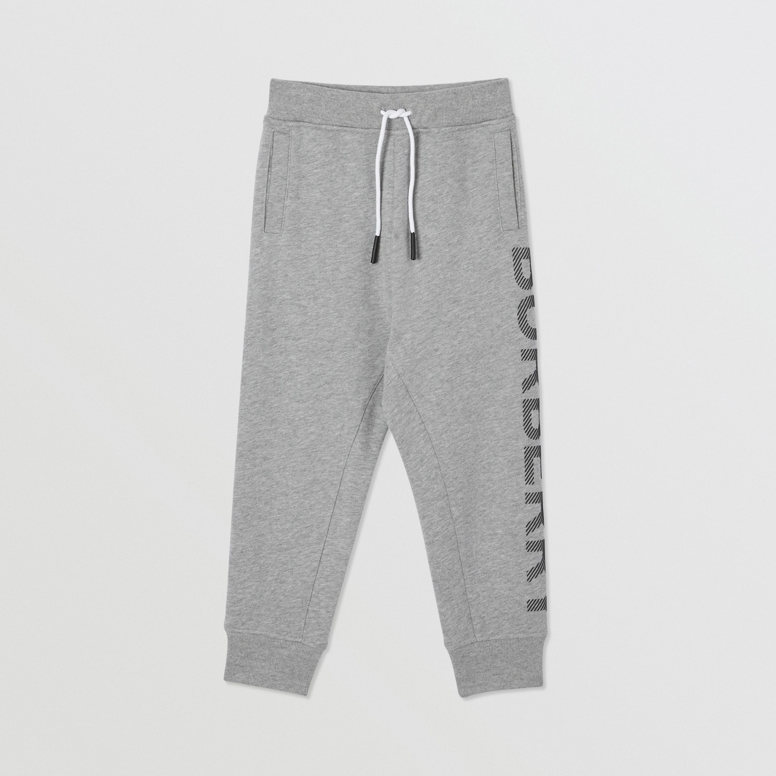 Logo Print Cotton Drawcord Jogging Pants in Grey Melange/black | Burberry - 1