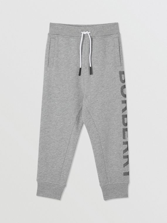 Logo Print Cotton Drawcord Trackpants in Grey Melange
