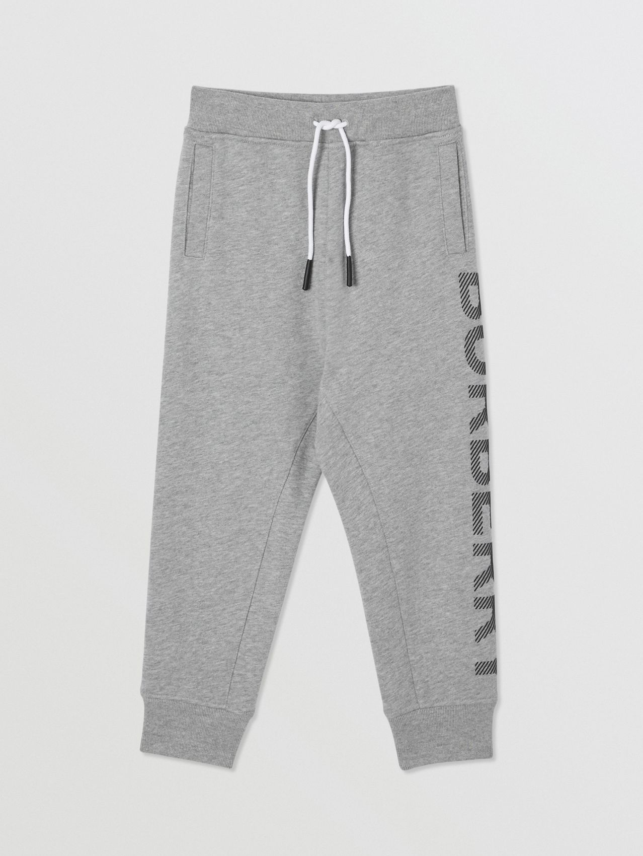 Logo Print Cotton Drawcord Trackpants (Grey Melange)