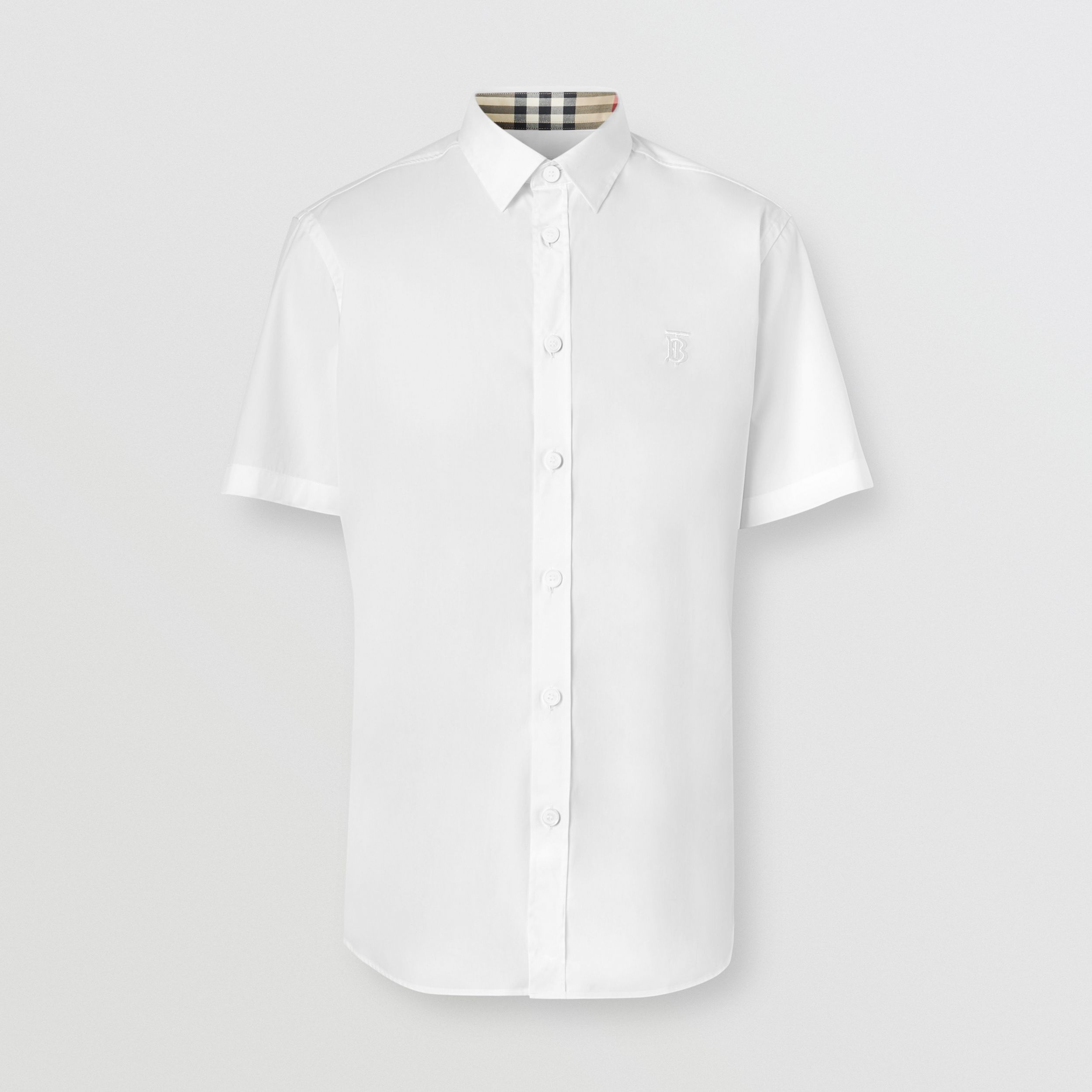 Short-sleeve Monogram Motif Stretch Cotton Shirt in White - Men | Burberry United States - 1