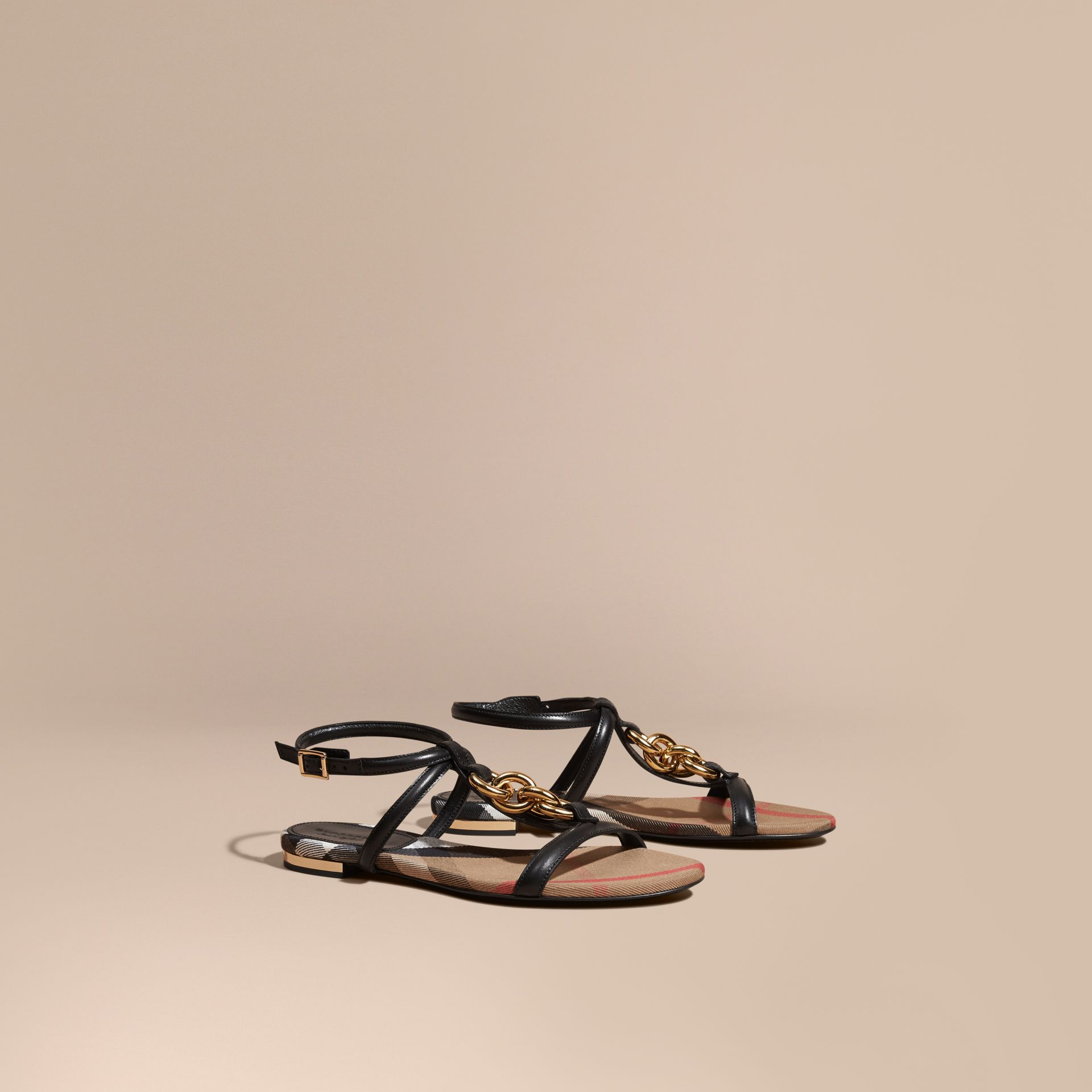 Black Chain Detail Leather Sandals Black - gallery image 1