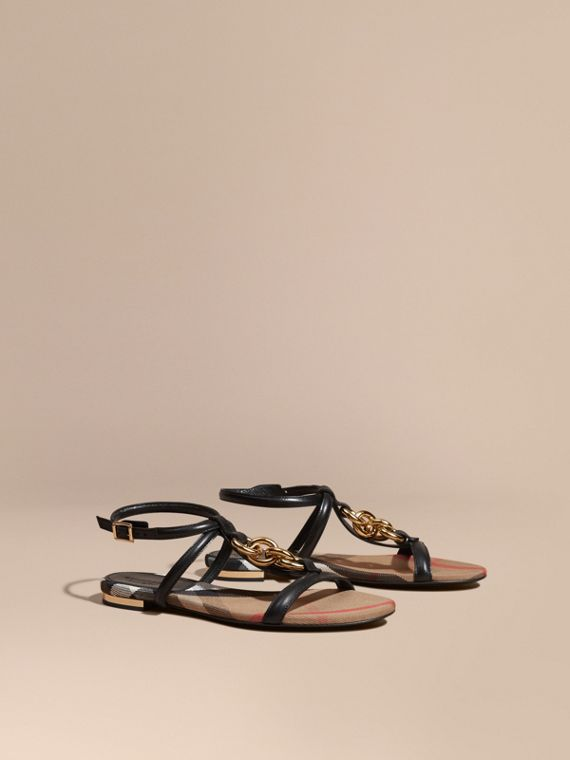 Chain Detail Leather Sandals Black