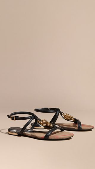 Chain Detail Leather Sandals