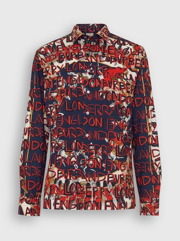 Graffiti Archive Scarf Print Cotton Shirt in Navy - Men | Burberry - cell image 3