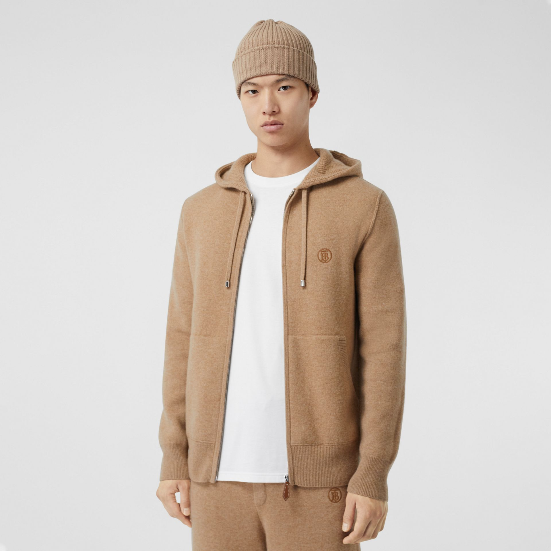 Monogram Motif Cashmere Blend Hooded Top in Pale Coffee - Men | Burberry Hong Kong S.A.R - gallery image 0