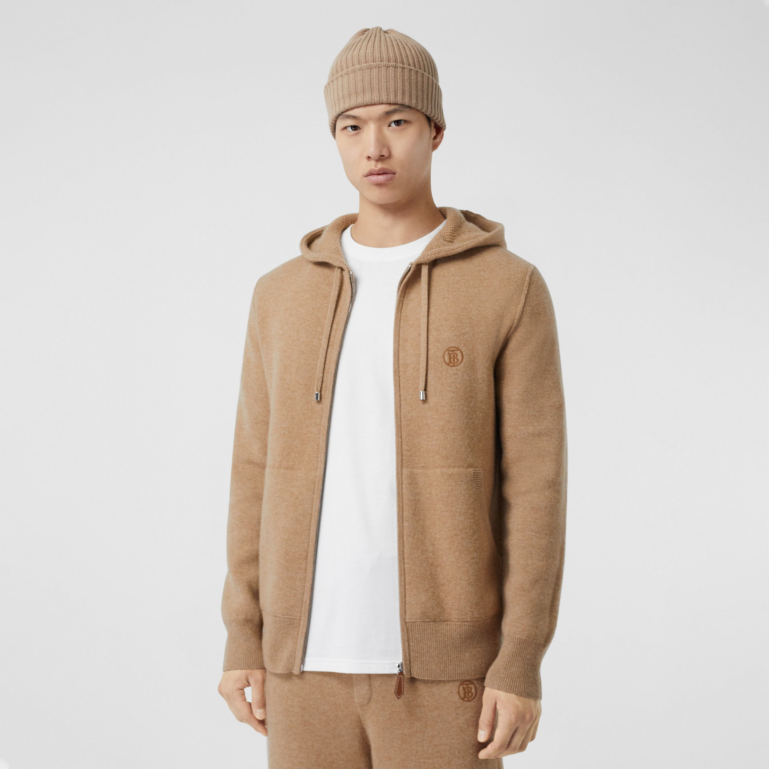 Monogram Motif Cashmere Blend Hooded Top in Pale Coffee - Men | Burberry Australia - 1