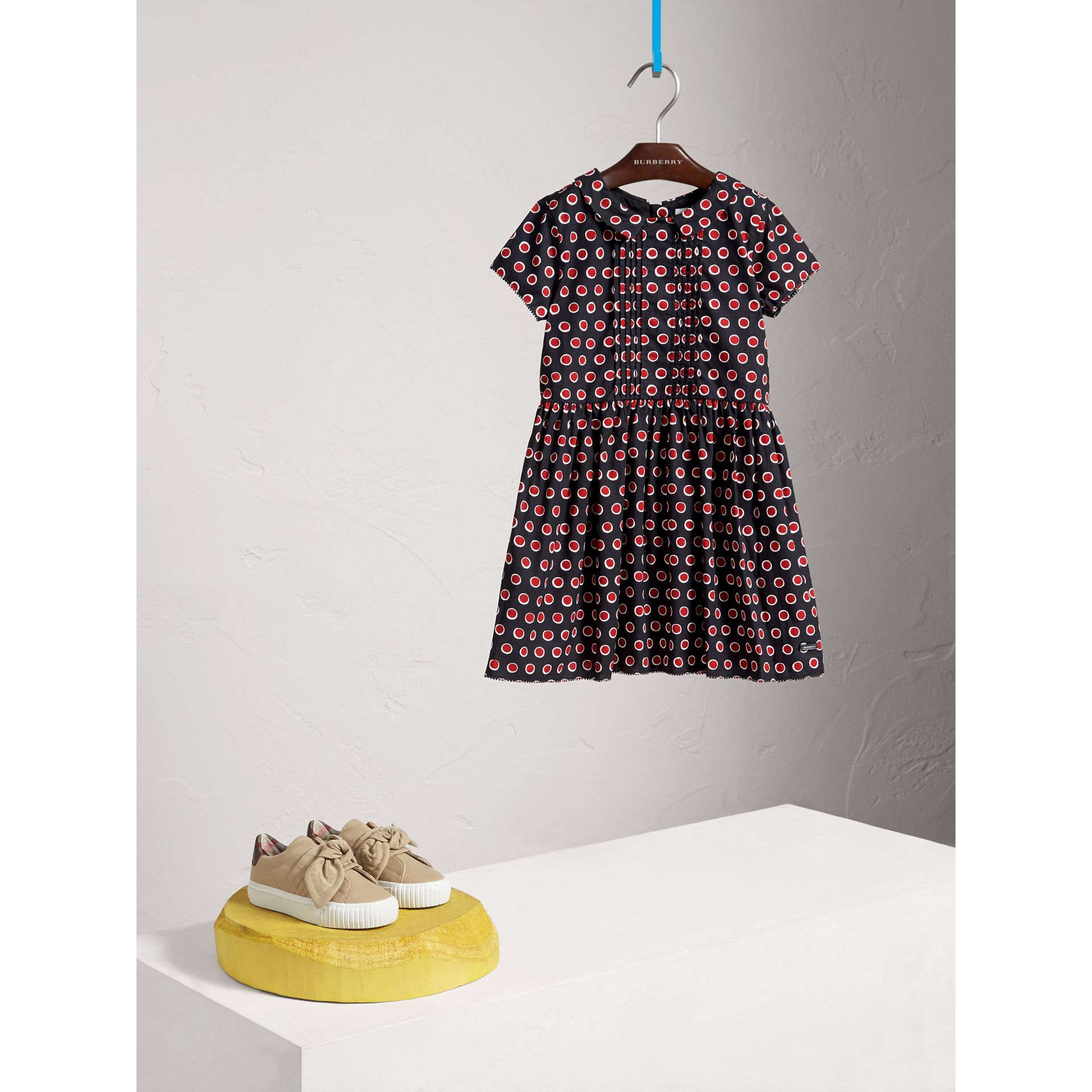 Pintuck Detail Spot Print Cotton Dress in Parade Red - Girl | Burberry United Kingdom - gallery image 0
