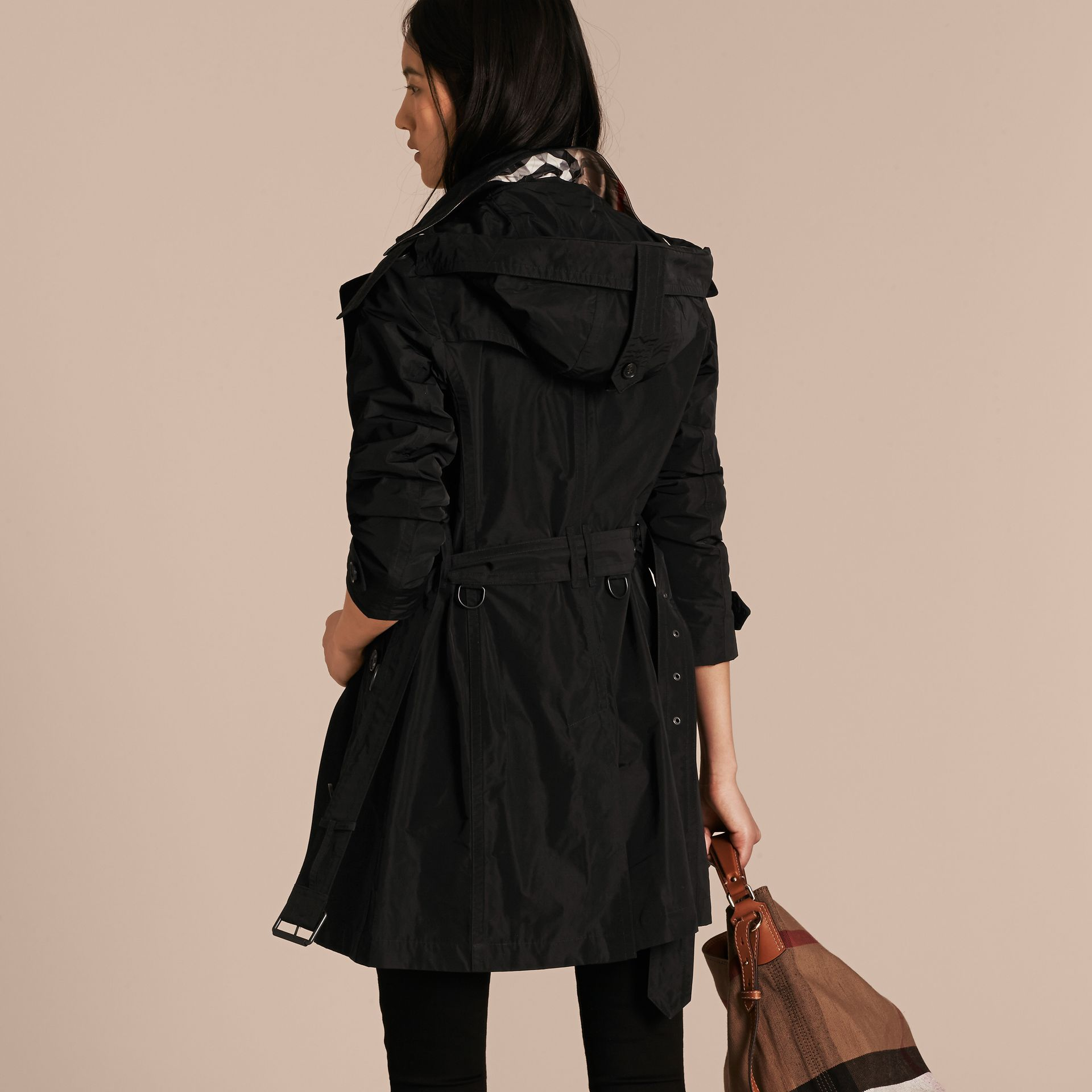 Black Taffeta Trench Coat with Detachable Hood Black - gallery image 3